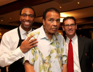 "Special guest Muhammad Ali at Larry Fitzgerald's ""Celebrity Server"" event"
